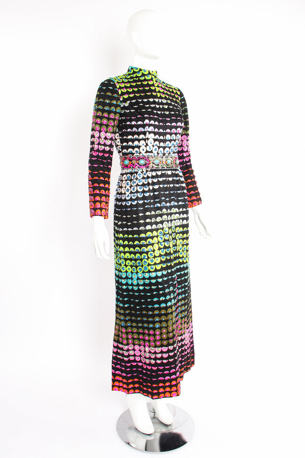 Vintage Valentina Graphic Rainbow Sequin Dress on Mannequin angle at Recess Los Angeles