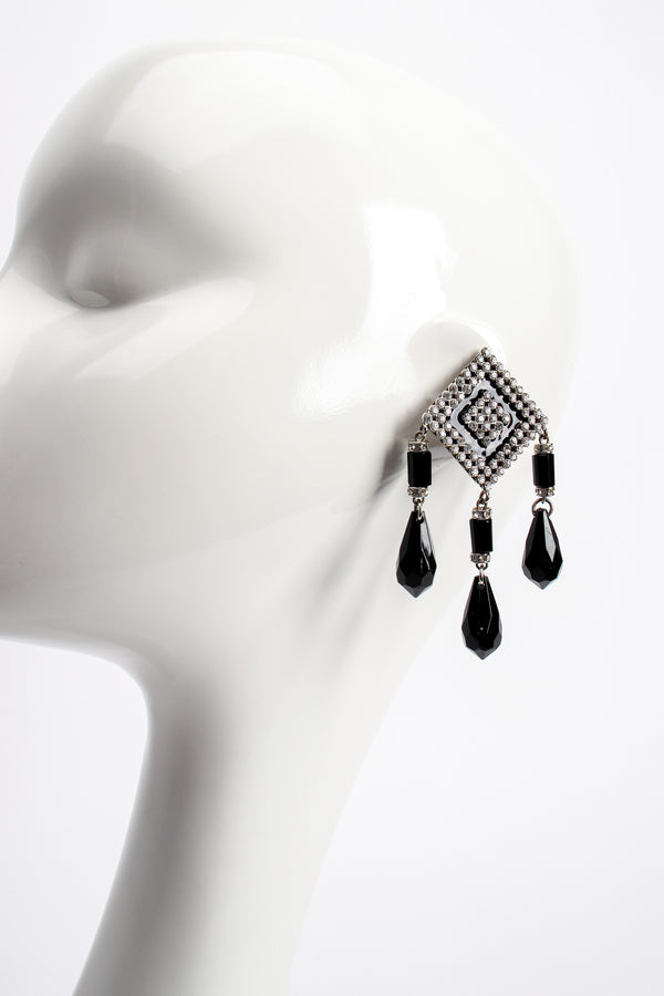 Vintage Valentino Geometric Diamond Drop Rhinestone Earrings on mannequin at Recess Los Angeles