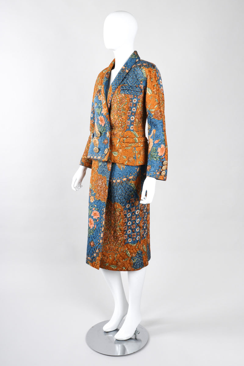 Recess Los Angeles Vintage Valentino Metallic Floral Quilted Jacket & Wrap Skirt Suit Set