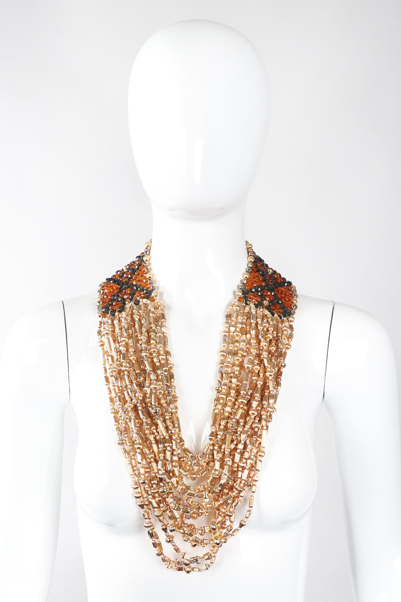 Recess Los Angeles Vintage Valentino Multi-Strand Beaded Collar Necklace