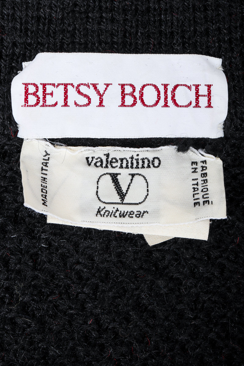 Recess Vintage Valentino label and Betsy Boich on black fabric