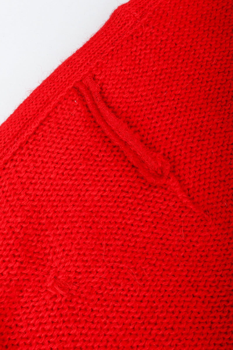 Recess Vintage Valentino Red And Black Sweater Knit Cape, backside of scar repair
