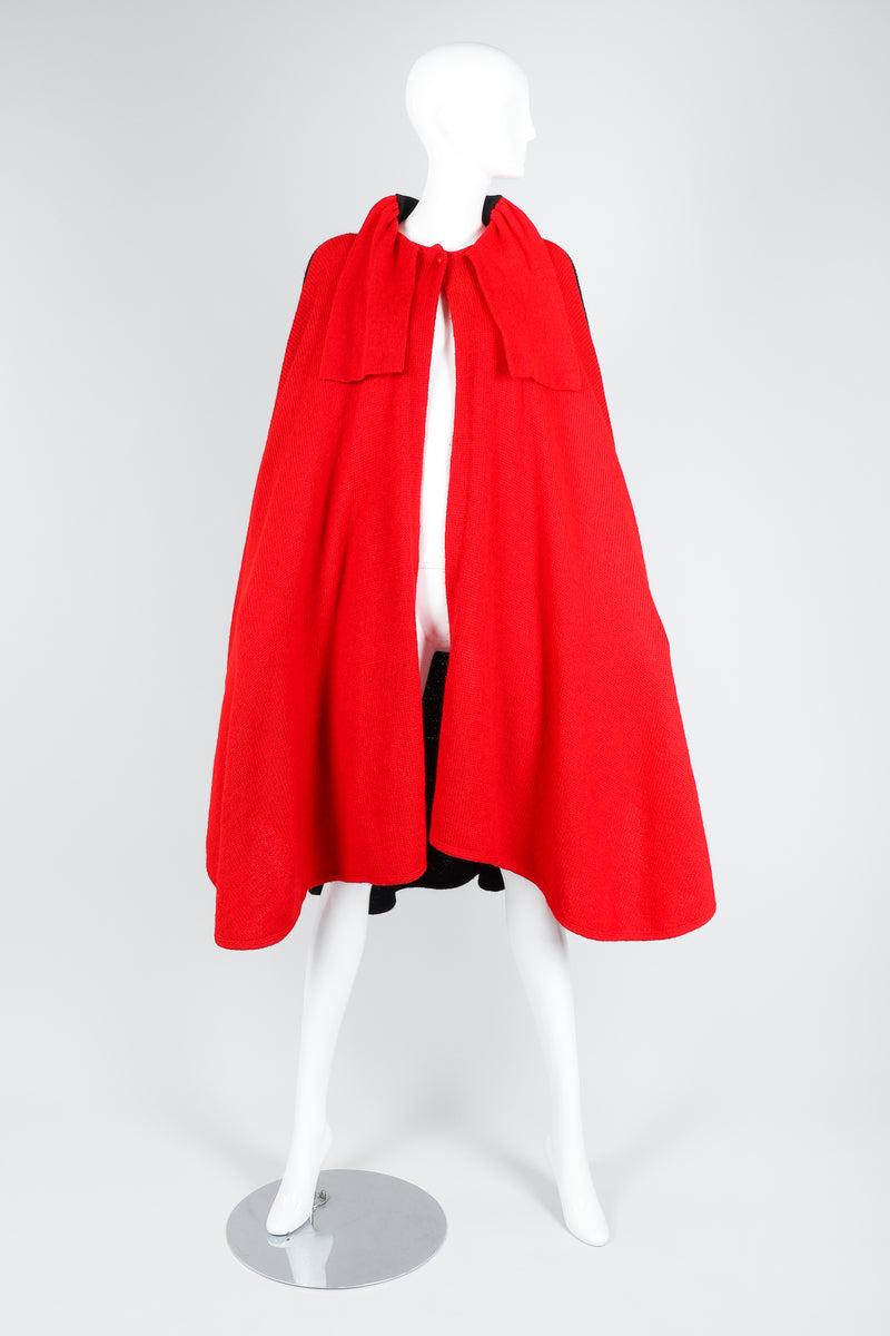 Recess Vintage Valentino Red And Black Sweater Knit Cape on Mannequin, front