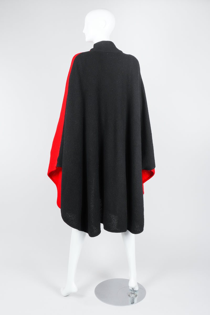 Recess Vintage Valentino Red And Black Sweater Knit Cape on Mannequin, back with arms at sides