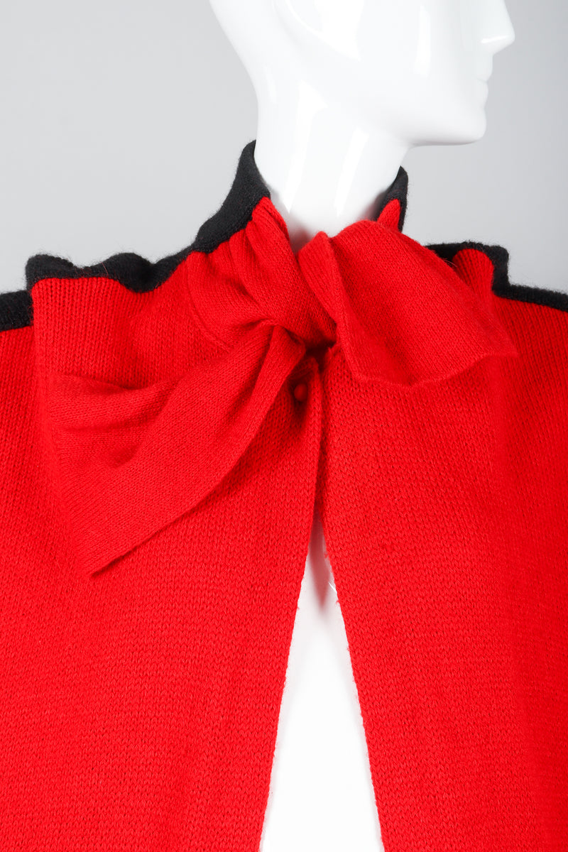 Recess Vintage Valentino Red And Black Sweater Knit Cape on Mannequin, neck tie detail