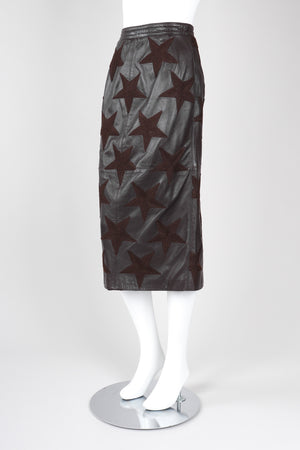 Recess Los Angeles Vintage Valentino Leather Embroidered Star Midi Pencil Skirt