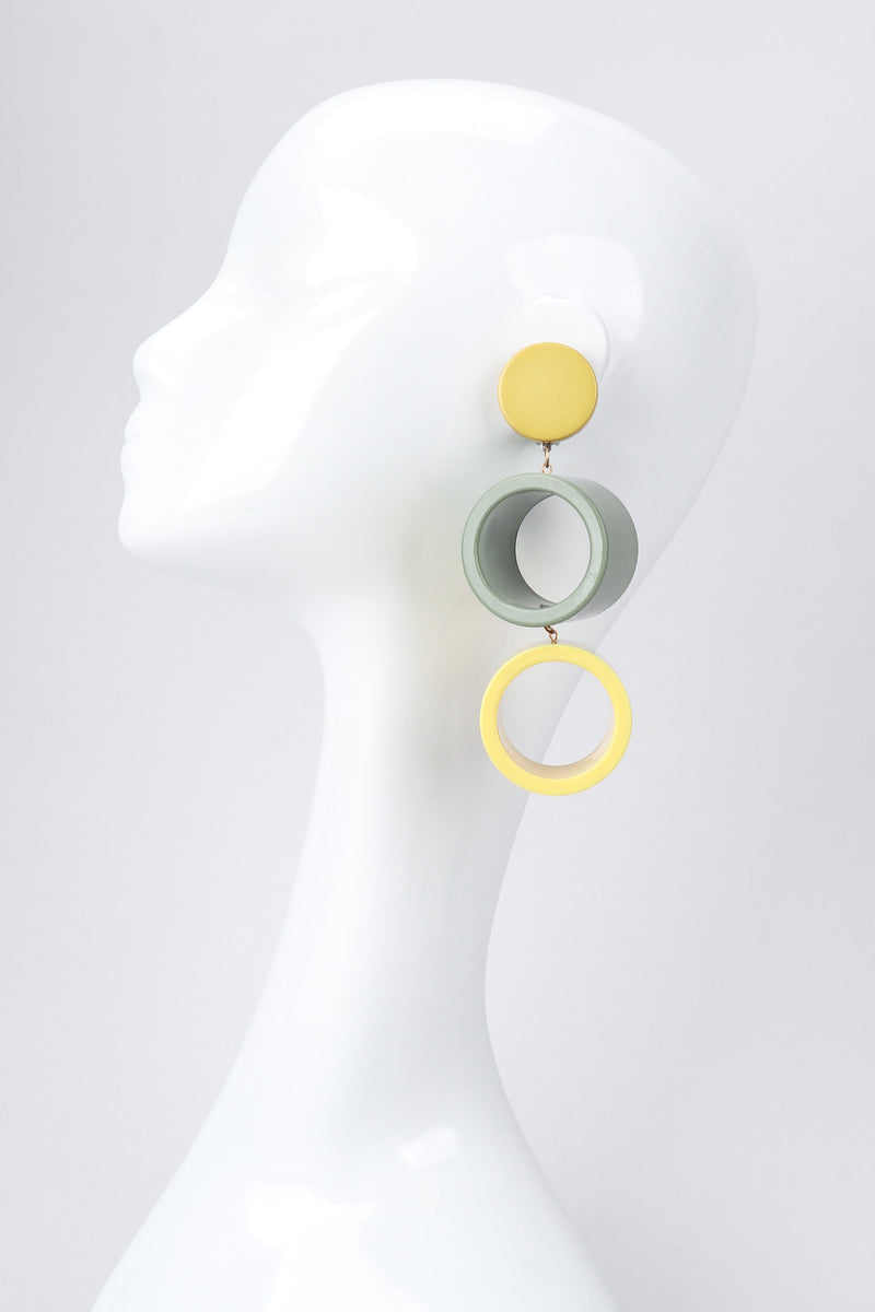 Recess Los Angeles Vintage Vera Neumann Lucite Colorblock Cylinder Tube Drop Earrings