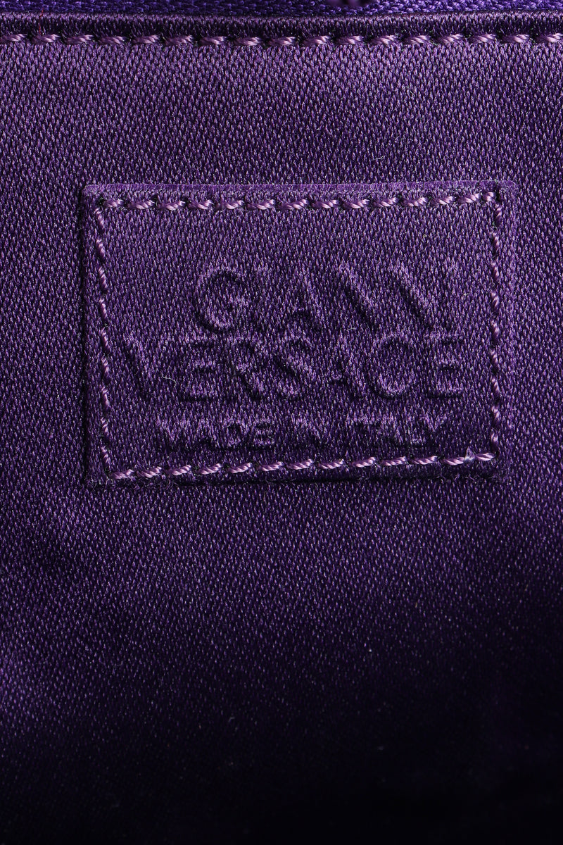 Vintage Gianni Versace Velvet Swirl O-Ring Bag label at Recess Los Angeles