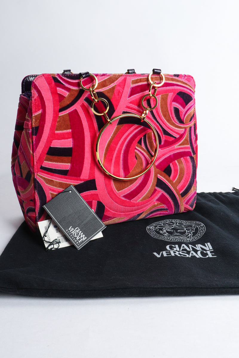 Vintage Gianni Versace Velvet Swirl O-Ring Bag with dustbag at Recess Los Angeles