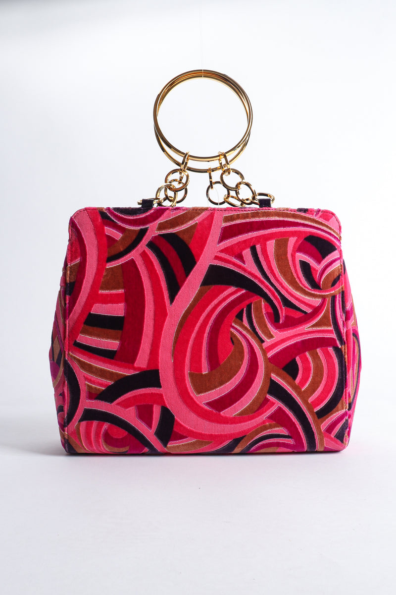 Vintage Gianni Versace Velvet Swirl O-Ring Bag Front at Recess Los Angeles