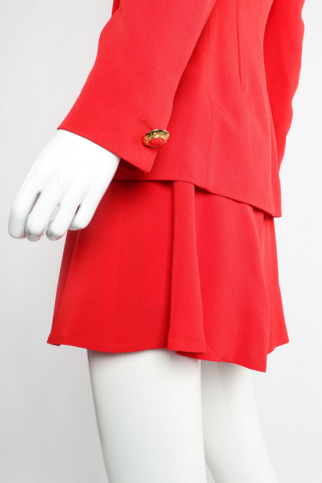 Vintage Versace 3-piece Vested Skirt Suit on Mannequin hemline at Recess Los Angeles