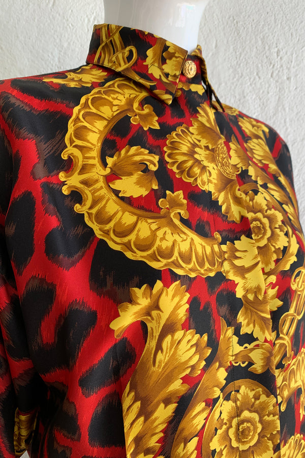 Vintage Gianni Versace Baroque Animal Print Silk Shirt on Mannequin Collar Detail at Recess