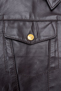 Vintage Versace Jeans Couture Dark Chocolate Leather Jean Jacket flap pocket