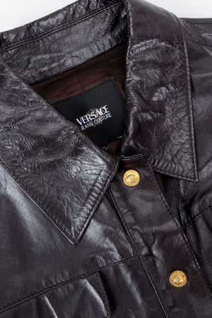 Vintage Versace Jeans Couture Dark Chocolate Leather Jean Jacket collar detail at Recess