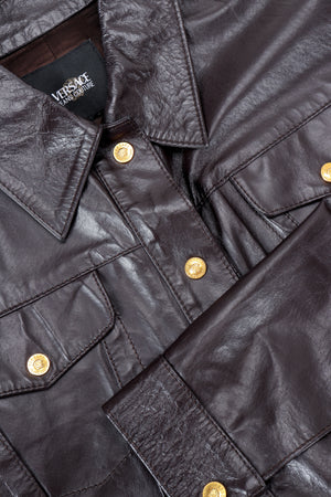 Vintage Versace Jeans Couture Dark Chocolate Leather Jean Jacket front detail at Recess