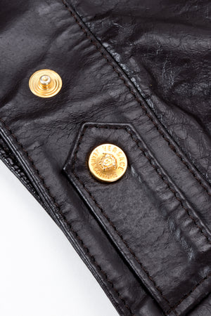 Vintage Versace Jeans Couture Dark Chocolate Leather Jean Jacket waist tab