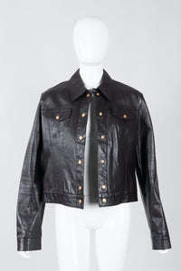 Vintage Versace Jeans Couture Dark Chocolate Leather Jean Jacket on Mannequin open at Recess