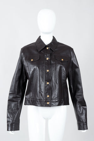 Vintage Versace Jeans Couture Dark Chocolate Leather Jean Jacket on Mannequin front at Recess