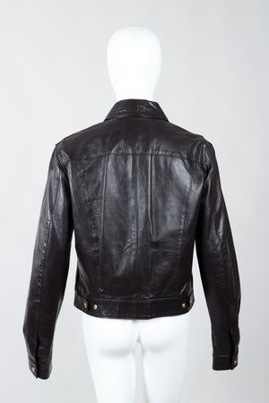 Vintage Versace Jeans Couture Dark Chocolate Leather Jean Jacket on Mannequin back at Recess