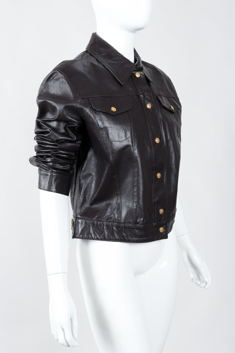 Vintage Versace Jeans Couture Dark Chocolate Leather Jean Jacket on Mannequin angled at Recess