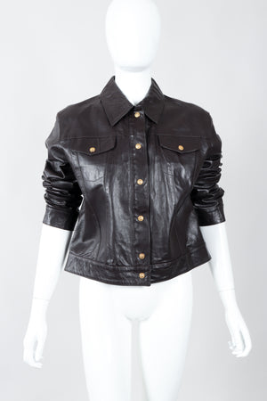 Vintage Versace Jeans Couture Dark Chocolate Leather Jean Jacket on Mannequin front sleeves at Recess