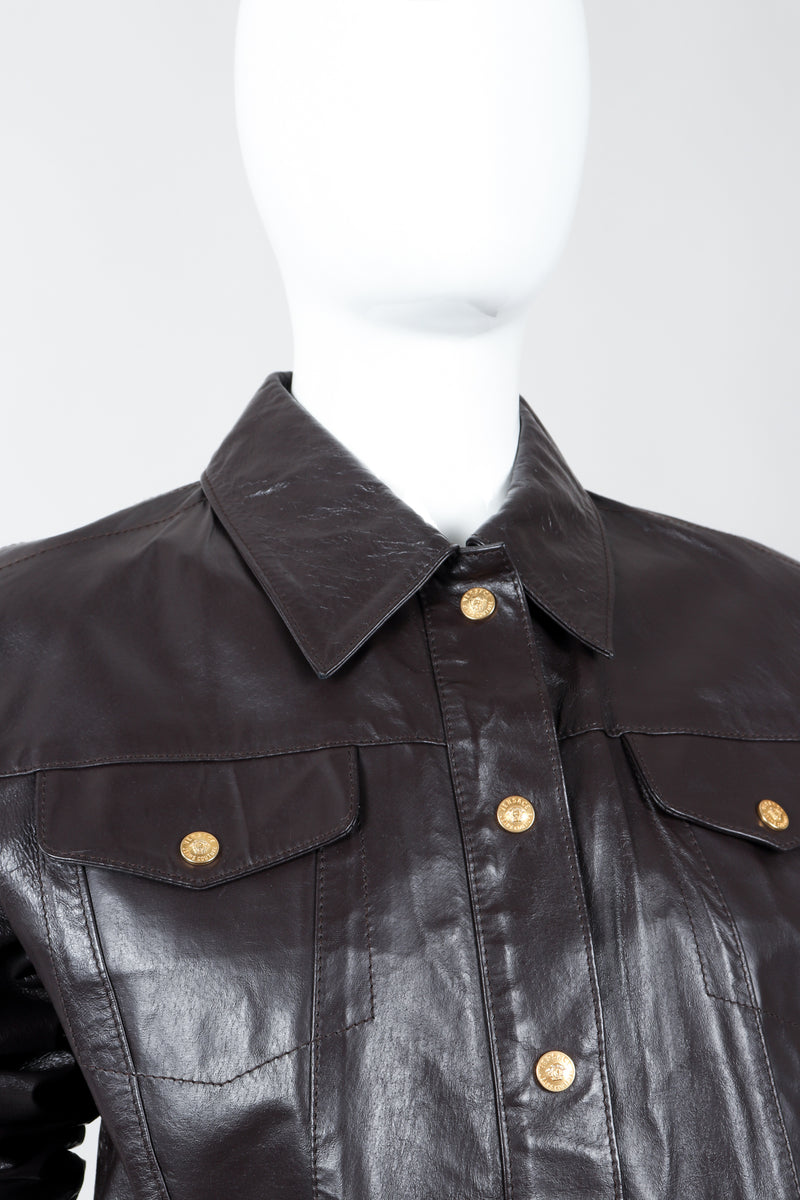Vintage Versace Jeans Couture Dark Chocolate Leather Jean Jacket on Mannequin collar detail