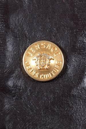 Vintage Versace Jeans Couture Dark Chocolate Leather Jean Jacket logo button detail