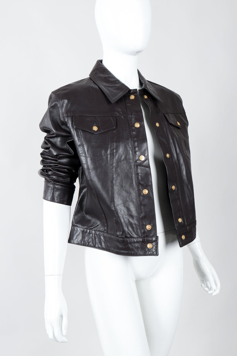 Vintage Versace Jeans Couture Dark Chocolate Leather Jean Jacket on Mannequin angle open at Recess
