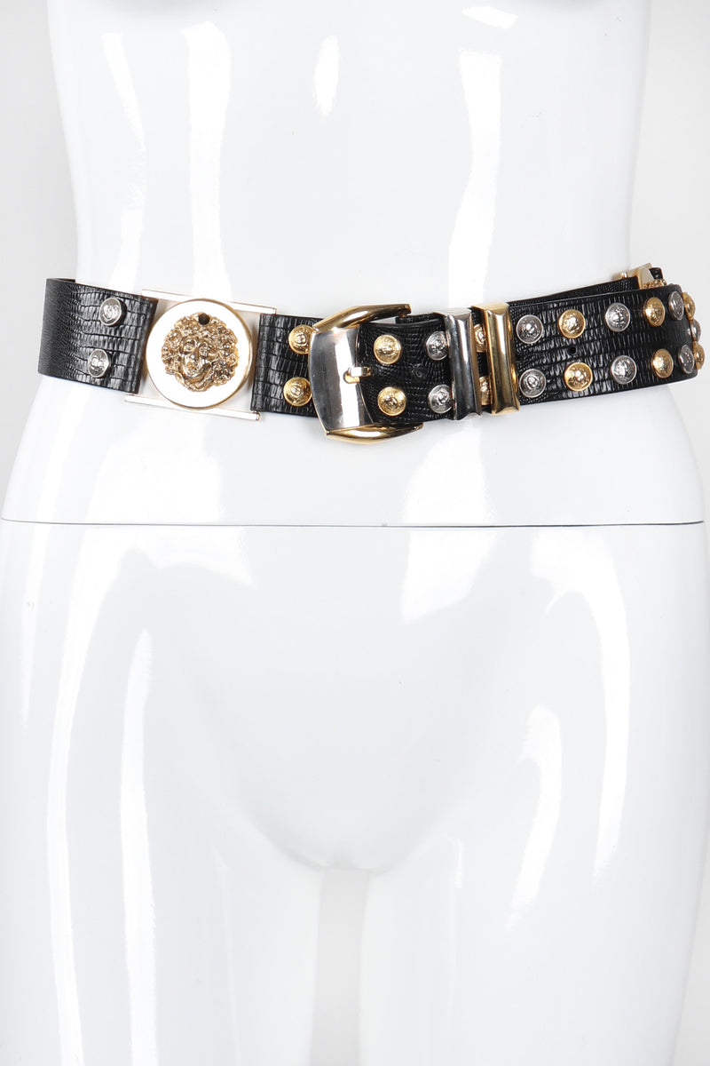 Recess Los Angeles Vintage Gianni Versace Mixed Metal Studded Leather Medusa Belt