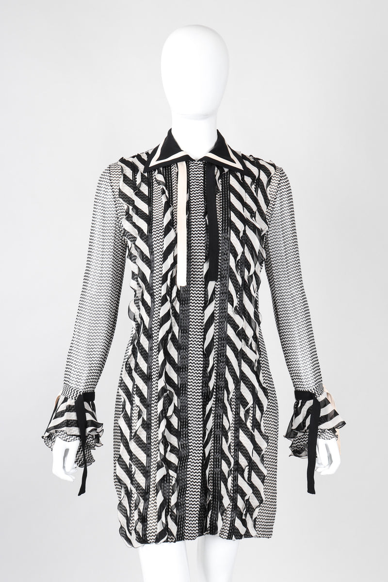Chiffon Chevron Stripe Shirt Dress