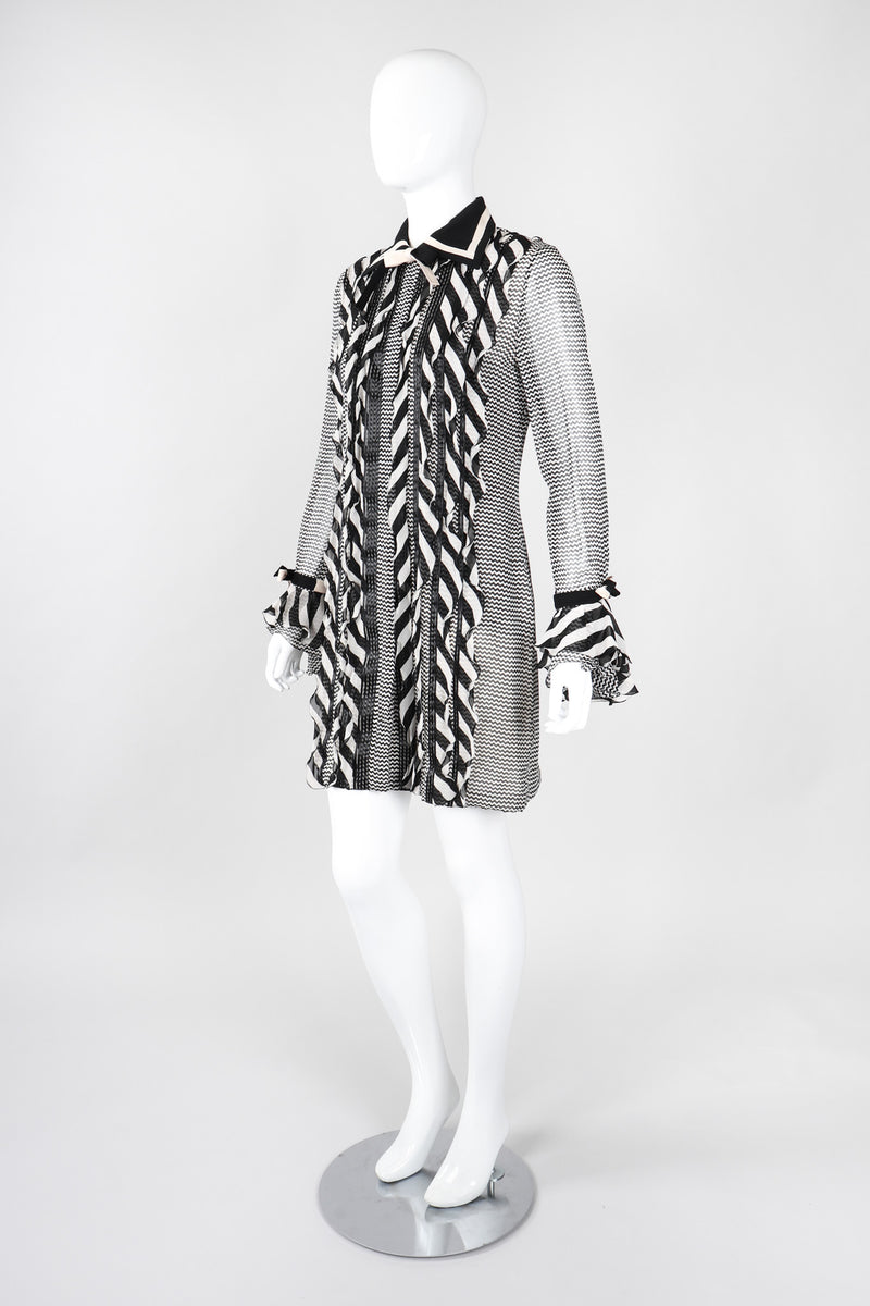Recess Los Angeles Vintage Gianni Versace Silk Chiffon Chevron Stripe Shirt Dress