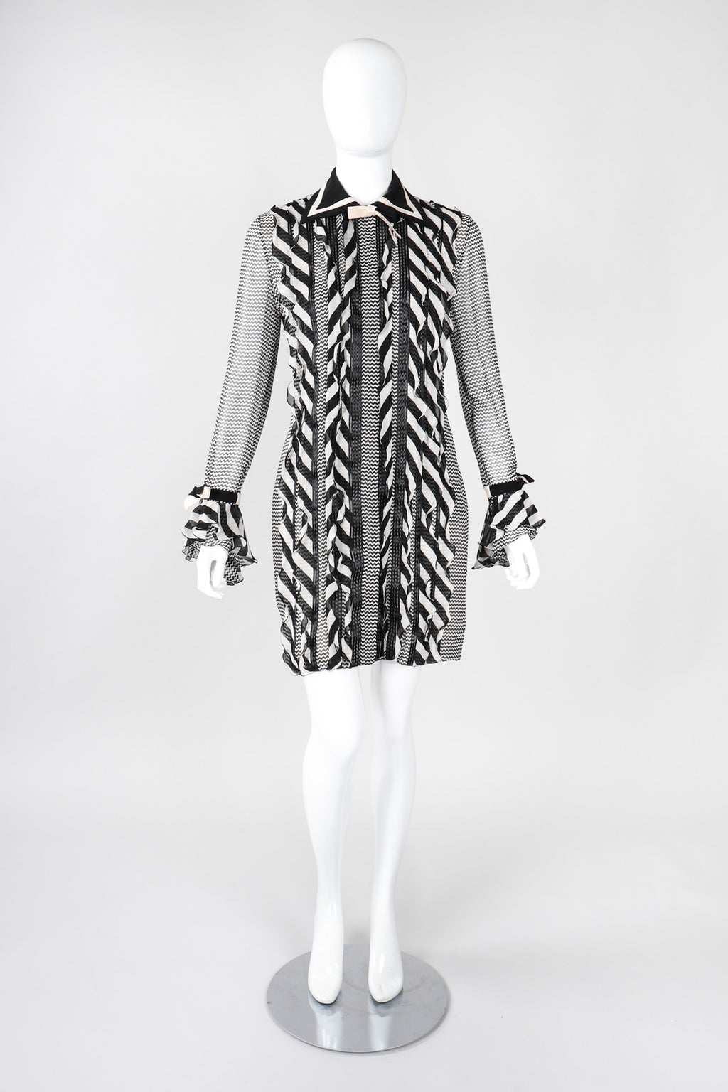 a34bf6d4 Recess Los Angeles Vintage Gianni Versace Silk Chiffon Chevron Stripe Shirt  Dress