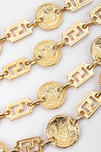 Recess Los Angeles Vintage Gianni Versace Gold Medusa Greek Key 4-Strand Choker Necklace