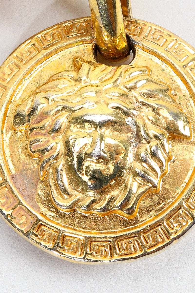 Vintage Gianni Versace Gold Medusa Head coin detail