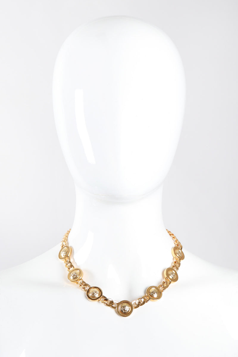 Recess Los Angeles Vintage Gianni Versace Medusa Gold Coin Collar Necklace