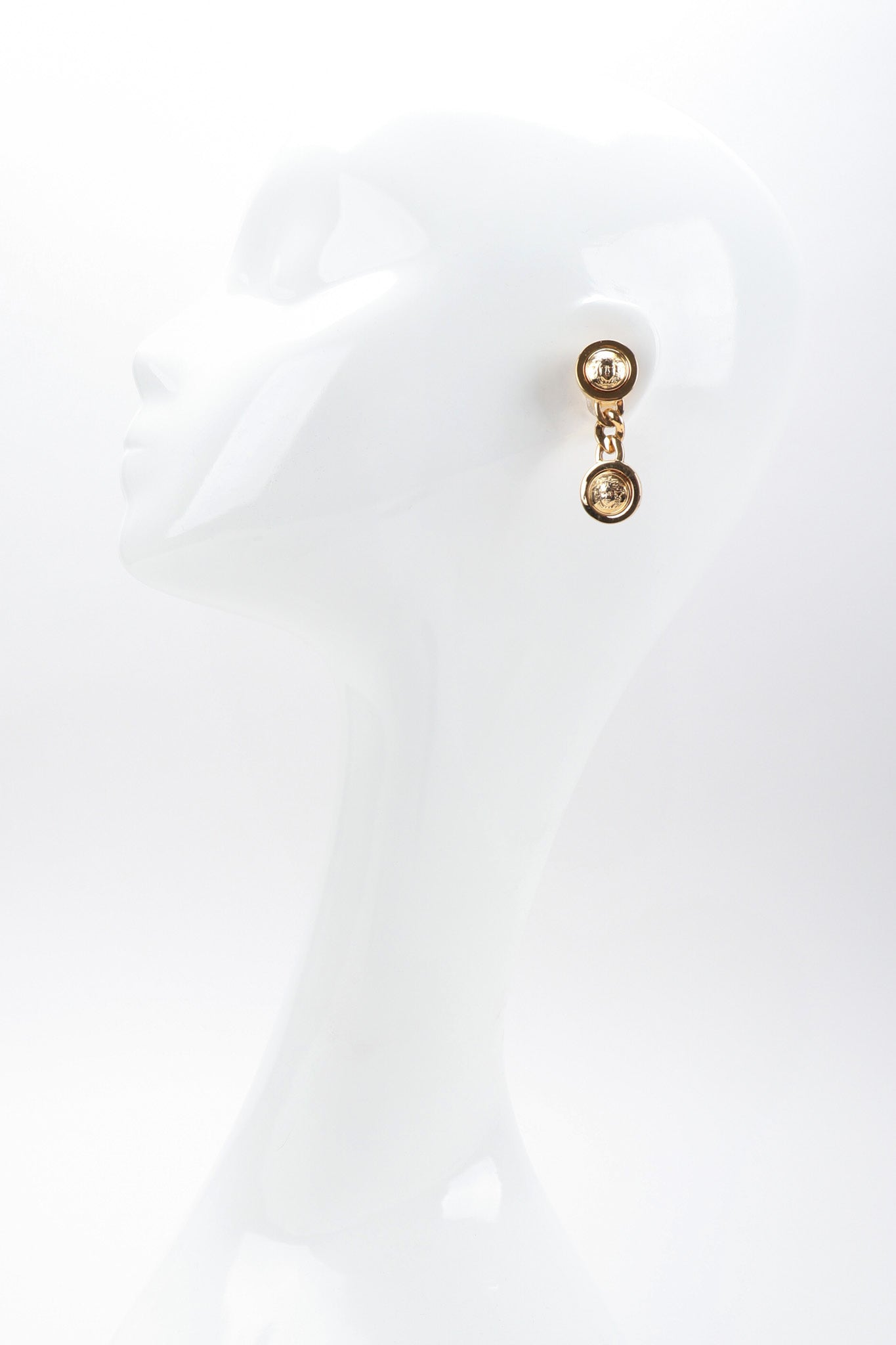 6f24c20c7fed Recess Los Angeles Vintage Gianni Versace Medusa Gold Coin Drop Earrings