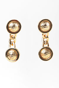 Recess Los Angeles Vintage Gianni Versace Medusa Gold Coin Drop Earrings