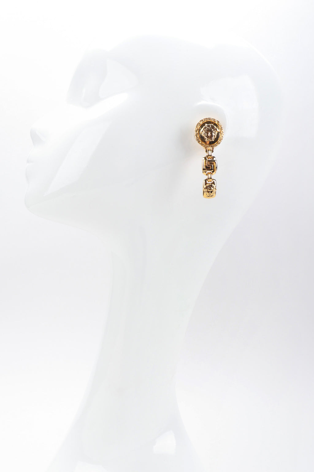cde62e08 Recess Los Angeles Vintage Gianni Versace Gold Greek Key Medusa Drop  Earrings
