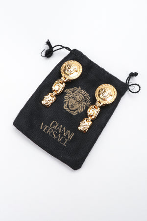 Recess Los Angeles Vintage Gianni Versace Gold Greek Key Medusa Drop Earrings