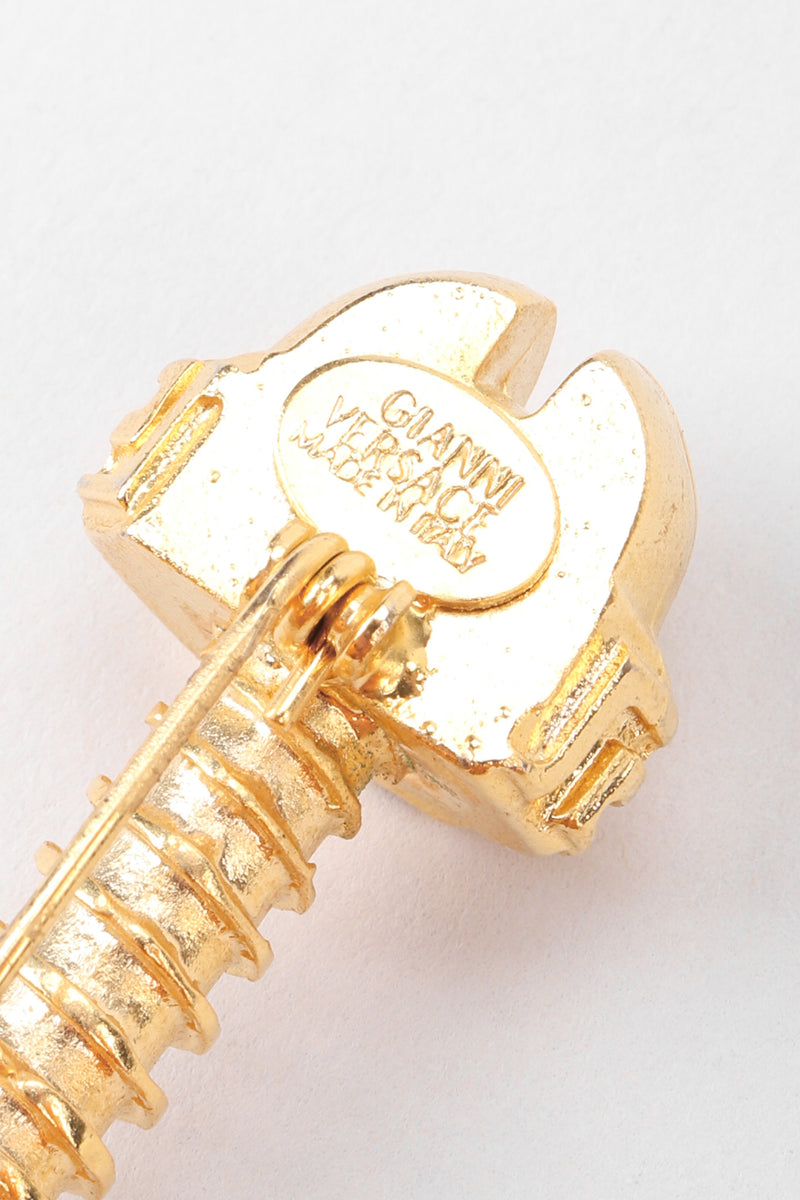 Recess Los Angeles Vintage Versace Golden Greek Key Screw Pin Brooch