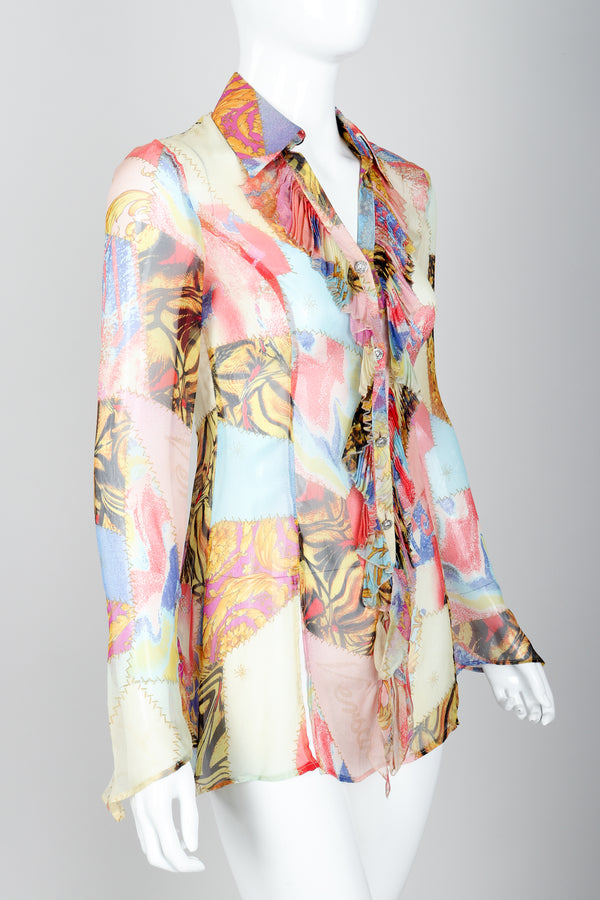 Vintage Versace Jeans Couture Chiffon Butterfly Print Ruffle Blouse on Mannequin angled at Recess