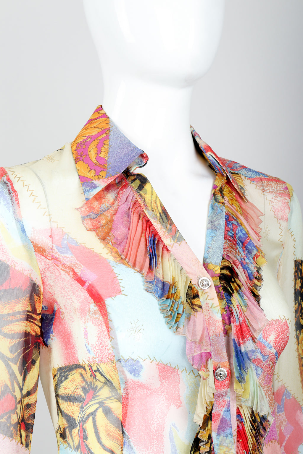 Vintage Versace Jeans Couture Chiffon Butterfly Print Ruffle Blouse on Mannequin collar detail
