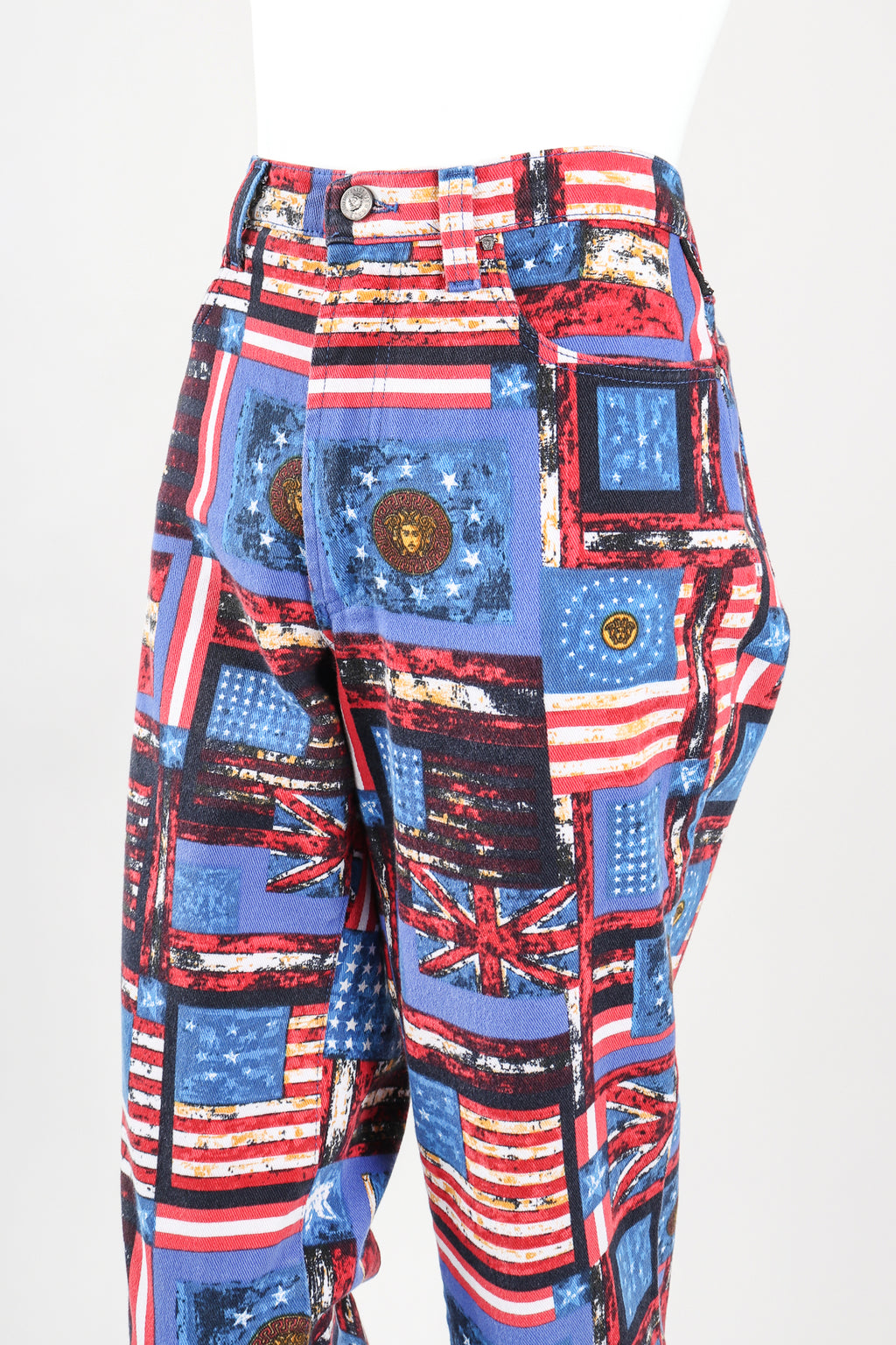 Recess Designer Consignment Vintage Versace Jeans Couture Union Jack Flag Print Jean Los Angeles Resale