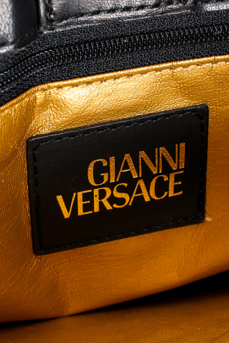 Vintage Gianni Versace Baroque Leopard Print Tote leather label at Recess Los Angeles
