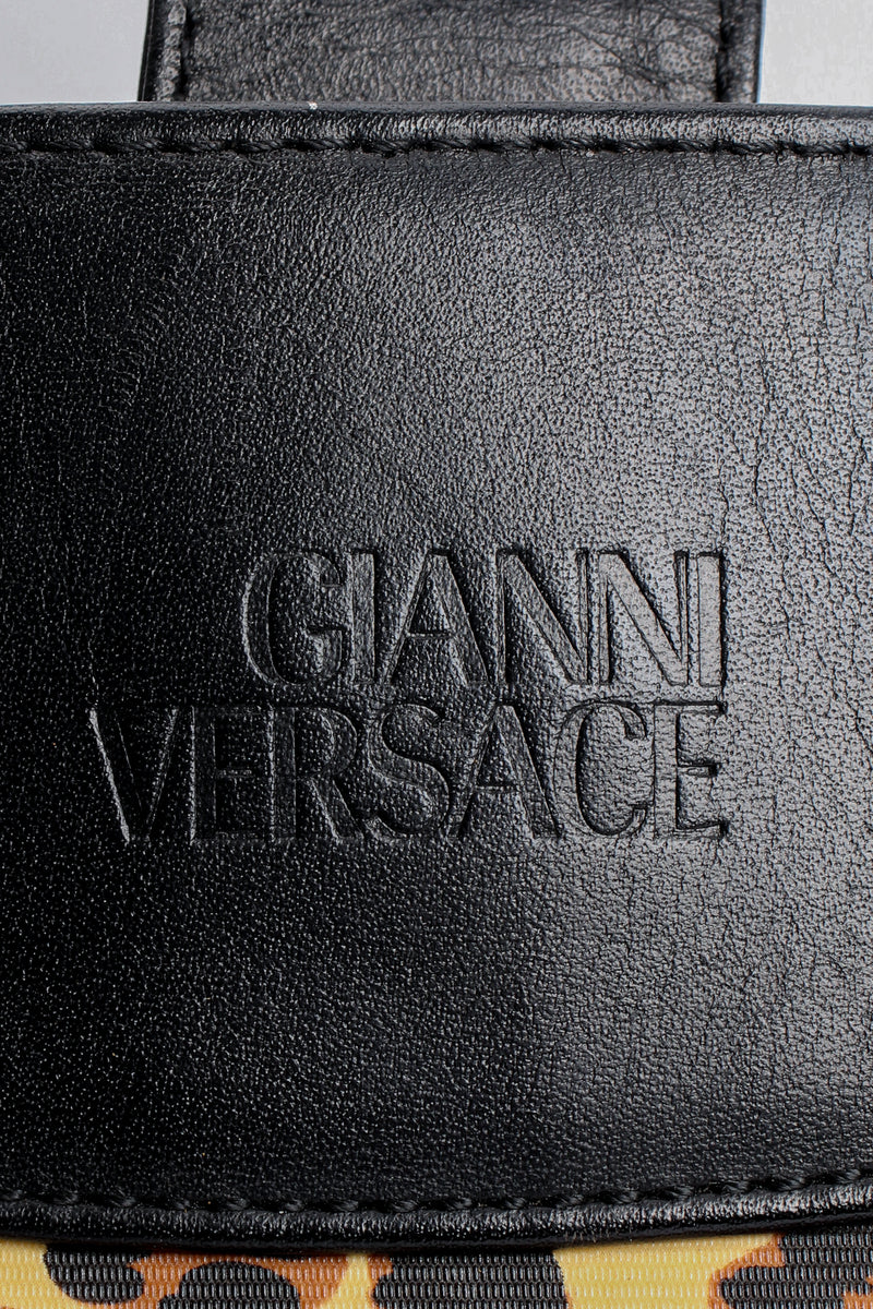 Vintage Gianni Versace Baroque Leopard Print Tote signature stamp at Recess Los Angeles