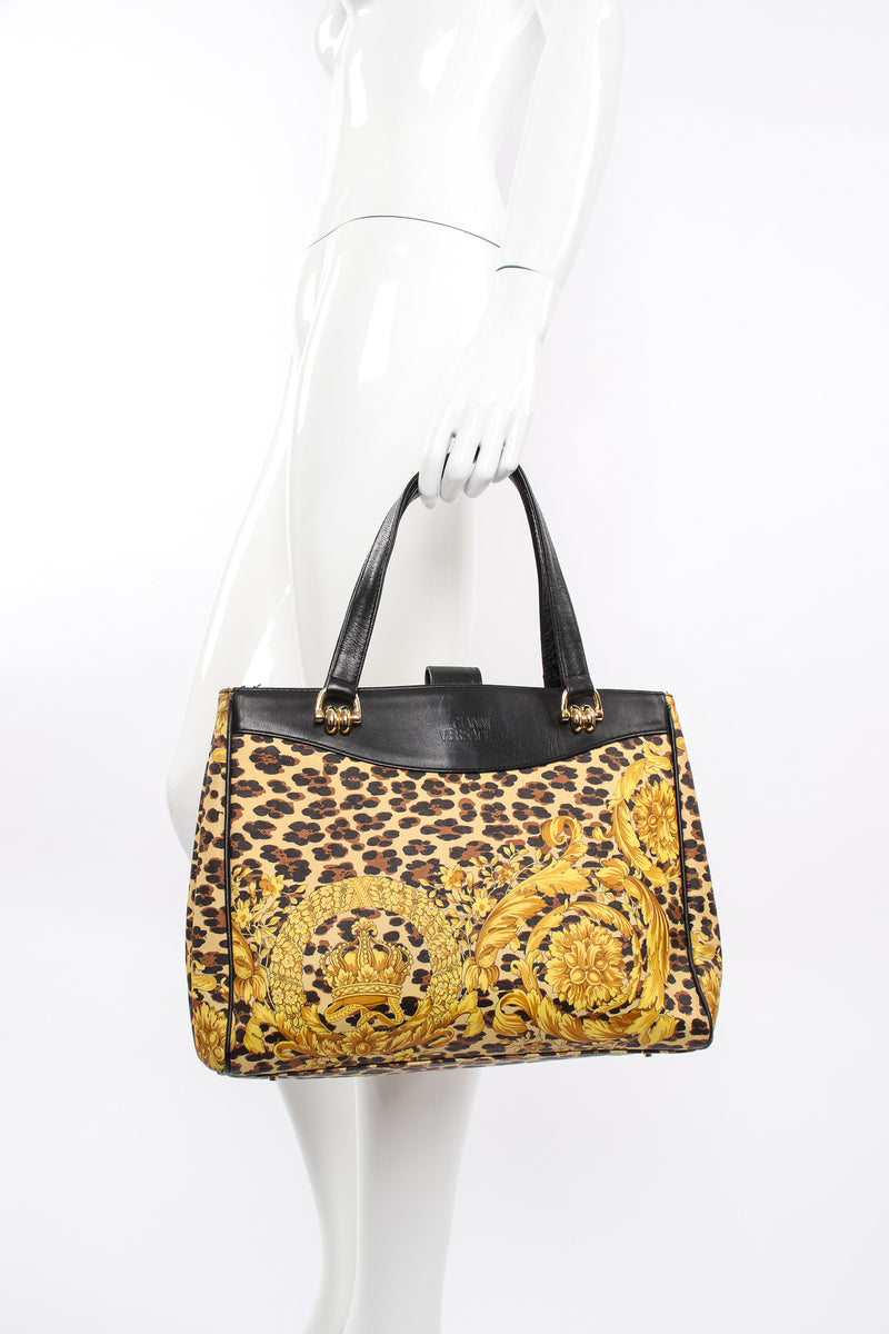 Vintage Gianni Versace Baroque Leopard Print Tote on mannequin at Recess Los Angeles