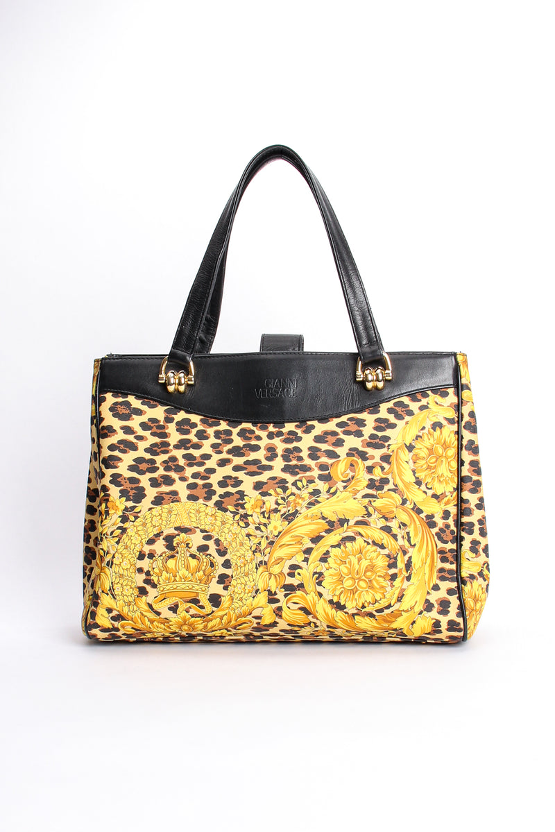 Vintage Gianni Versace Baroque Leopard Print Tote front at Recess Los Angeles