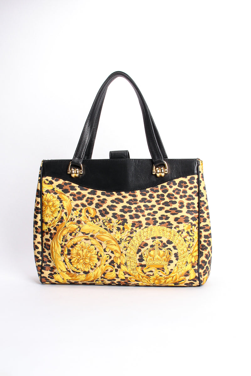 Vintage Gianni Versace Baroque Leopard Print Tote back at Recess Los Angeles