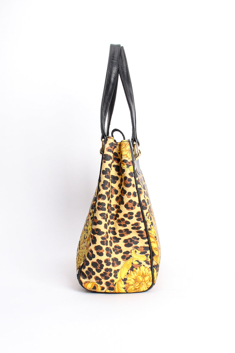 Vintage Gianni Versace Baroque Leopard Print Tote side at Recess Los Angeles