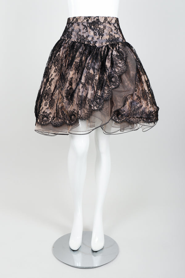 Vintage Vicky Tiel Lace Pouf Miniskirt on Mannequin front at Recess Los Angeles
